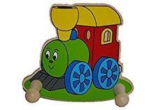 Garderobe Für KINDER   Mit 2 Kleiderhaken   Eisenbahn / Zug   Aus Holz    Holzgarderobe