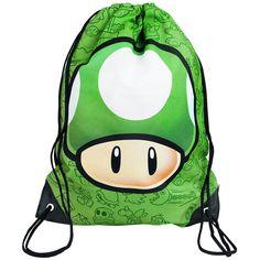 """Der Turnbeutel """"ONE UP"""" in grün von #Nintendo bietet massig Platz für alles, was verstaut und mitgenommen werden muss. Damit er auch hält, sind seine Ecken zudem noch verstärkt. #empstyle"""