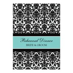 Damask Wedding Rehearsal Cards Teal Black Damask Rehearsal Dinner Party Card
