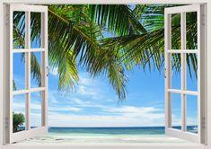 Beautiful beach wall decal 3D window by 3DWindowWallStickers