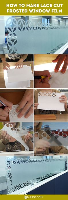 Love the etched glass look? How to make a lace cut frosted window film.