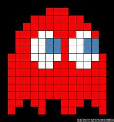 Blinky Ghost Pacman perler bead pattern - Angie - HOME Fuse Bead Patterns, Perler Patterns, Beading Patterns, Cross Stitch Patterns, Perler Beads, Perler Bead Art, Fuse Beads, Pixel Pacman, Minecraft Pixel Art
