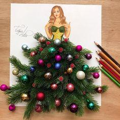 Arte Fashion, 3d Fashion, Dress Fashion, Funny Drawings, Art Drawings, Illustrator, Merry Christmas Wishes, Christmas Trees, Illustration Mode