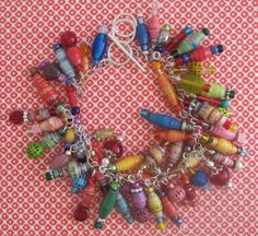 Rainbow Paper Bead Charm Bracelet