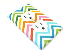 Rainbow Summer Chevron Stripes Outlet Cover by ModernSwitch, $7.00