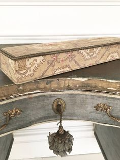 Stunning antique vintage French fabric covered box