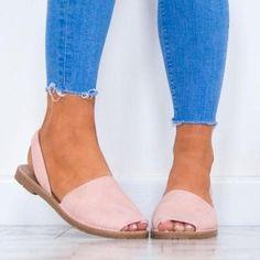 Women Plus Size Flats Casual Peep Toe Faux Suede Slip On Elastic Sandals Peep Toe Shoes, Women's Shoes Sandals, Women Sandals, Shoes Women, Ladies Shoes, Flat Sandals, Strappy Sandals, Womens Summer Shoes, Womens Flats