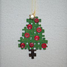 Puzzle Piece Christmas Tree Ornament