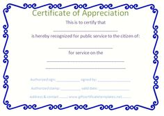 Blue border certificate of appreciation template