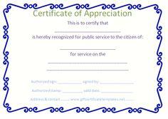 Blue border certificate of appreciation template