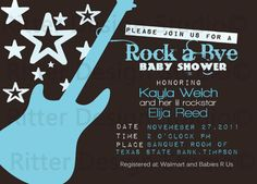 Rock Star Guitar Baby Shower Invitation  by RitterDesignStudio, $15.00 - colors can be changed