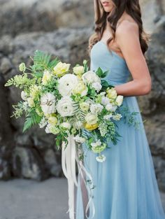 Blue chiffon bridal gown on beach | Image by Wedding Nature Photography | see more at http://fabyoubliss.com