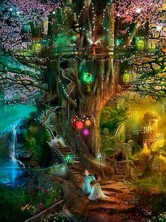 Fantasy Places, Fantasy World, Fantasy Town, Dream Fantasy, Fantasy Castle, Dark Fantasy, Elfen Fantasy, Fairy Tree Houses, Earth Design