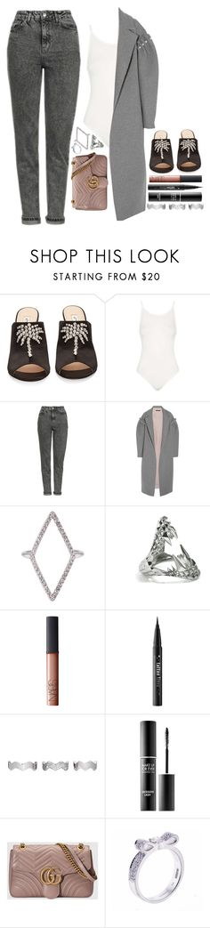 """""""paradise"""" by iriskatarina ❤ liked on Polyvore featuring Attico, Topshop, Mother of Pearl, Diane Kordas, Kasun, NARS Cosmetics, Kat Von D, Eddie Borgo, MAKE UP FOR EVER and Gucci"""