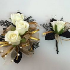 Black & Gold – Roses Corsage and Boutonniere Set