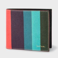Paul Smith Men's Leather 'Artist Stripe' Print Billfold Wallet