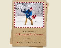 Printable Christmas Card / Kraft Paper with by BlissfulSoiree