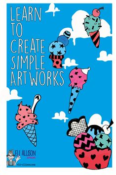 Learning to be creative is for anyone willing to give it a go. So pop along to my blog where every week I create simple and fun artworks for you to have a go at. Art is for everyone, not just 'us' creative types. This week, cute acrylic ice-cream paintings. Ice Cream Painting, Easy Art Projects, Draw Your, Learning To Be, Learn To Paint, Simple Art, Cool Artwork, Artworks, Doodles