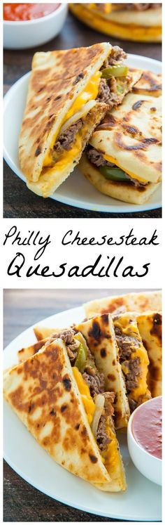 Philly Cheesesteak Quesadillas are loaded with meat, cheese, pepper & onions. Serve with marinara sauce, ketchup, or sour cream. Mexican Food Recipes, Beef Recipes, Cooking Recipes, Oats Recipes, Recipies, I Love Food, Good Food, Yummy Food, Dessert Banana Split