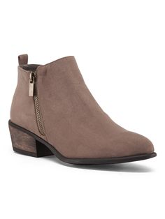 Bamboo Low Side Zip Bootie in Taupe $20 | TJ Maxx