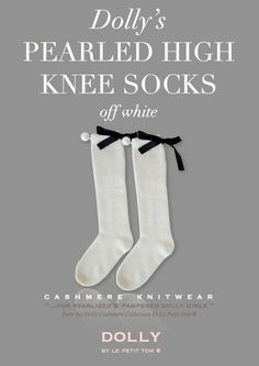 DOLLY by Le Petit Tom ® PEARLED HIGH KNEE SOCKS off-white