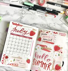 my july monthly spread! 🙃 finished this a week ago but i still havent had the time to finish editing my plan with me video - i'll be sharing free strawberry/flower printables that i used in this spread! Bullet Journal Cover Ideas, Bullet Journal Lettering Ideas, Bullet Journal Notebook, Bullet Journal Aesthetic, Bullet Journal School, Bullet Journal Spread, Bullet Journal Layout, Bullet Journal Inspiration, Life Journal