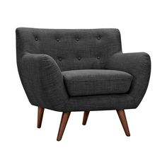 You'll get even more than you bargained for with this Olson Armchair in Charcoal. With a classic mid-century design and upward sloping arms, you'll get comfort and style from this piece. With plush cus...  Find the Olson Armchair in Charcoal, as seen in the The Glamorous Mid-Century Life Collection at http://dotandbo.com/collections/the-glamorous-mid-century-life?utm_source=pinterest&utm_medium=organic&db_sku=109506