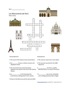 St Patrick's Day Crossword Puzzle High School.   French  Activities  French Paris Crossword Puzzle Amp Word Search