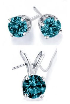 Blue Diamond Necklace and Earring Set $299