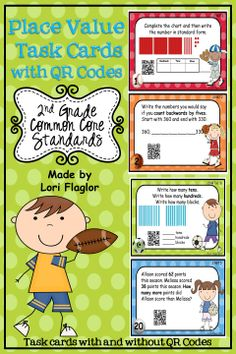 Place Value Task cards for 2nd Grade Common Core Math Standards. 24 cards with and without QR codes.
