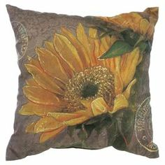 """Add natural appeal to your sofa or loveseat with this eye-catching cotton pillow, showcasing a sunflower motif.  Product: PillowConstruction Material: Cotton coverColor: MultiFeatures: Insert includedDimensions: 18"""" x 18"""""""