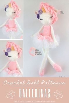 Unicorn Crochet Doll Pattern, Ballerina, Amigurumi Unicorn Doll with Tutu and Flower Pattern, Bailarna Unicornio Patron Unique Unicorn from the series of Ballerinas, Amigurumi Crochet Patterns. The ready crocheted doll is ideal for nursery decoration, a gift for a baby girl, or a baby shower. This is a DOWNLOADABLE TUTORIAL. Written in English.