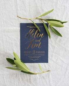 Elegant Gold Foil and Navy Wedding Invitations by Make Hey / Oh So Beautiful Paper