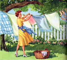 Guy Brown Wiser Art Housewife pinning washing on the clothes line. Vintage Pictures, Vintage Images, Vintage Posters, Photo Vintage, Retro Vintage, Vintage Toys, Vintage Housewife, Vintage Laundry, Jolie Photo