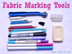 A collection of tools used to trace patterns and mark fabric.