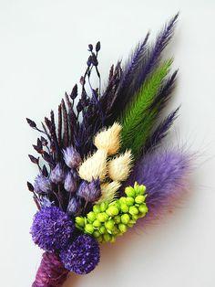 Purple Lime Peacock - Purple Lime Green #boutonniere #wedding #decoration #etsy #handmade #groom #groomsmen