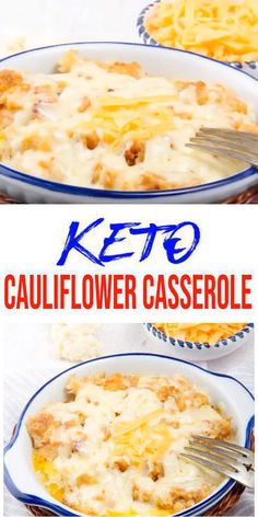 Low Carb Bacon & Cheese Casserole Idea – Quick – Healthy – Baked Ketogenic Diet Recipe – Completely Keto Friendly - Here is a quick & easy homemade keto cauliflower casserole recipe. Keto Foods, Ketogenic Salads, Ketogenic Recipes, Diet Recipes, Vegetarian Recipes, Healthy Recipes, Dessert Recipes, Breakfast Recipes, Keto Cauliflower Casserole