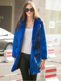 Coats I LOVE! Sapphire Blue  Long Line Faux Fur Cozy Warm Coat | Choies #Cozy #Sapphire #Blue #Faux #Fur #Fall #Winter #Coat #Fashion
