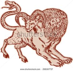 Etching engraving handmade style Illustration of a Chimera, Greek mythical creature with head of a lion and goat and tail that ended in a snake's head viewed from side on isolated background. - stock vector