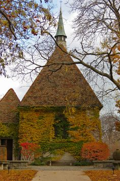 Fall colors at Marquette University's St. Joan of Arc Chapel, as seen from West Mall.
