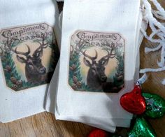 Christmas Favor Bags Vintage Deer Compliments of the Season by RobinStelling old fashioned buck muslin favor bags for gift cards and small gifts
