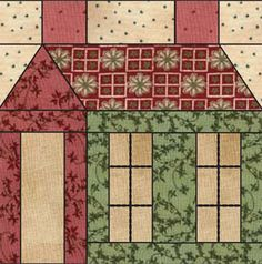 Schoolhouse quilt block from the Abby's Schoolhouse collection by Square Textiles.  Downloadable PDF pattern/instructions.