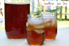Southern Sun Tea: Sun tea is a method of brewing tea slowly, using the heat of the sun to draw out the flavors from dry tea leaves. #icedtea #summer