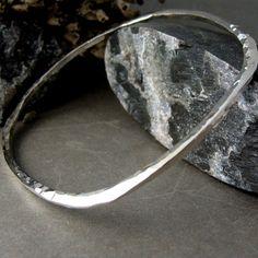 silver bangle bracelet: square sterling silver bangle hammered c