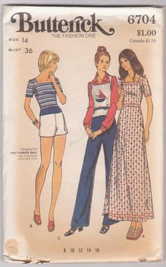 1970s vintage sewing pattern for knit maxi by beththebooklady, $7.99