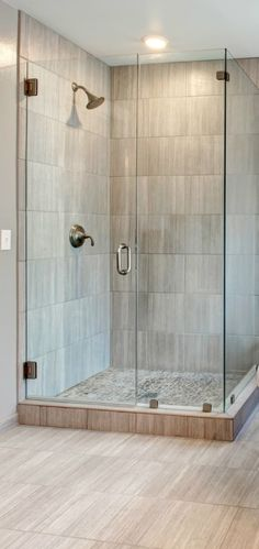 Bathroom. square corner transparent glass shower areas on grey tiles ceramics flooring and wall plus : tile door - Pezcame.Com