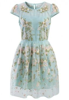 Fairland blue floral embroidered organza dress
