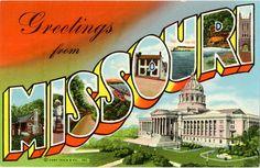 Missouri Large Letter Vintage Linen Greetings Postcard, $5.00