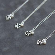 Snowflake Bridesmaid Jewelry Set of 4 Four Custom by SprigJewelry, $100.80