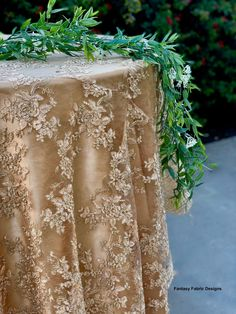 Gold embroidered lace table runner, gold tablecloth, table overlay, home decor, weddings. Sequin Backdrop, Wedding Tablecloths, Lace Tablecloths, Table Overlays, Lace Table Runners, Gold Lace, Embroidered Lace, Runes, Crafts